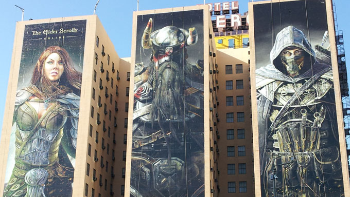 The Elder Scrolls Online Painted on the Side of a Hotel
